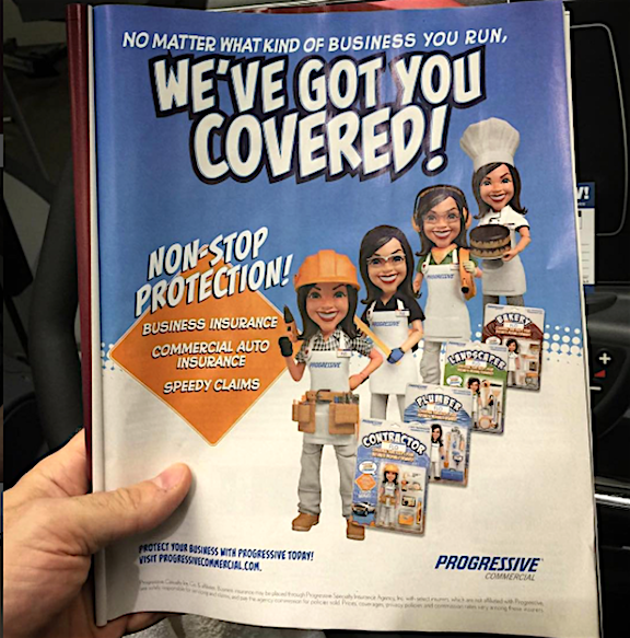 "Stop Teasing us, Flo! The print ad campaign carries through with ""photos"" of the action figures. Progressive, you're such a tease! (Photo: Bigshotklim)"